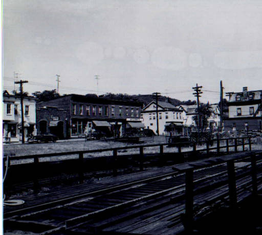 Train turntable in the garden area in Nyack, 1947