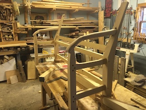 Our bench, being built